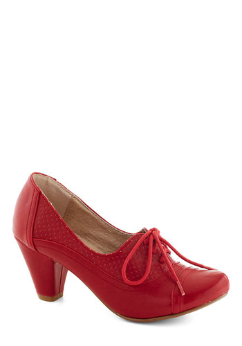 Right Here Heel in Red by Chelsea Crew - Red, Solid, Vintage Inspired, 20s, 30s, Mid, Faux Leather, Party, Work, Lace Up, Fall
