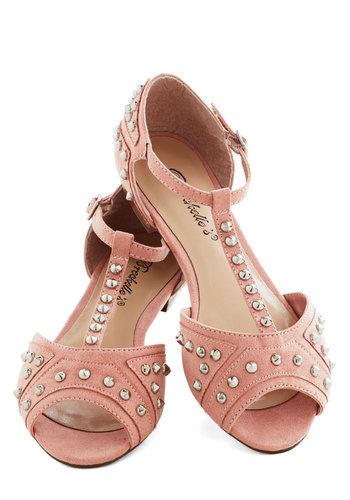 Tell Me About It, Studded Flat in Blush - Pink, Studs, Summer, Flat, Peep Toe, Solid, Casual, Urban, Pastel, Variation