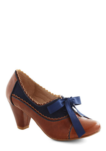 Notch Your Step Heel in Cognac by Chelsea Crew - Tan, Solid, Scallops, Vintage Inspired, 20s, 30s, Blue, Work, Mid, Faux Leather, Top Rated