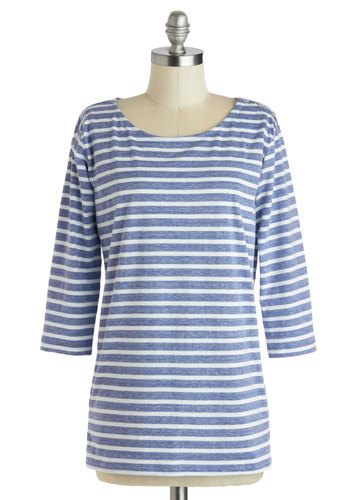 Writing Style Top - Mid-length, Blue, White, Stripes, Casual, Nautical, 3/4 Sleeve, Scoop, Blue, 3/4 Sleeve