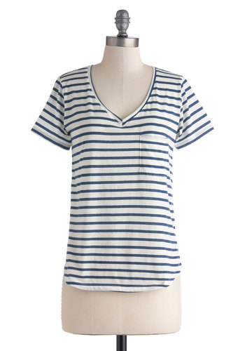 Running Lines Top - Jersey, Mid-length, Blue, White, Stripes, Pockets, Casual, Nautical, Travel, Short Sleeves, Summer, V Neck, Multi, Multi, Short Sleeve
