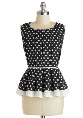 Introductory Remarks Top - Mid-length, Black, White, Polka Dots, Pleats, Party, Work, Daytime Party, Peplum, Sleeveless, Black, Sleeveless