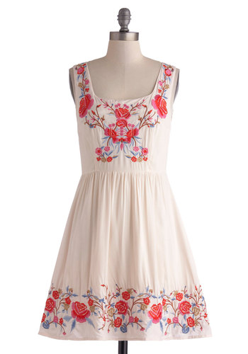Judy Blue Skies Dress in Ivory - Mid-length, Cream, Floral, Embroidery, Casual, A-line, Tank top (2 thick straps), Blue, Pink, Folk Art, Spring, Summer, Variation, Festival, Boho, Sundress