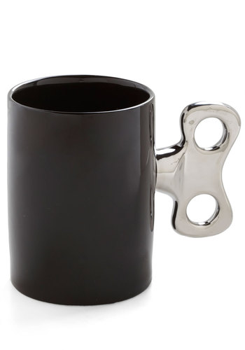Second Wind-up Mug - Black, Silver, Solid, Quirky, Good
