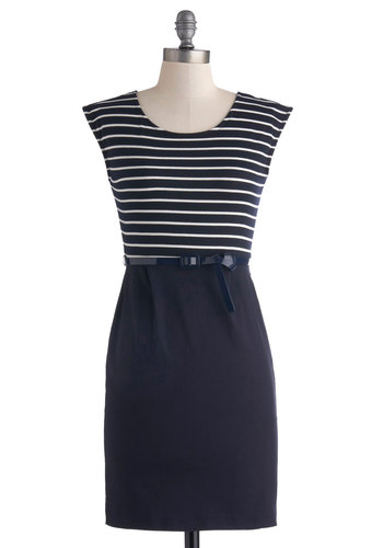 Fashion Consultant Dress - Mid-length, Blue, White, Stripes, Belted, Work, Sheath / Shift, Sleeveless, Scoop, Nautical, Twofer