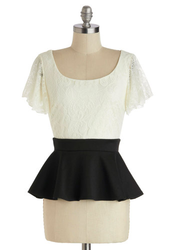 Trip Down Reverie Lane Top - Black, Lace, Daytime Party, Peplum, Short Sleeves, Mid-length, White, Solid, Party, Work, Film Noir, Colorblocking, Scoop, White, Short Sleeve