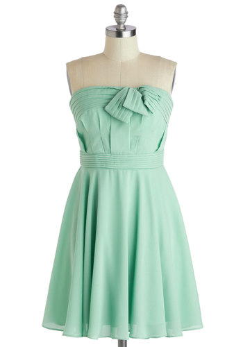 Mint Cute Dress - Short, Mint, Solid, Pleats, Daytime Party, Graduation, Strapless, Sweetheart, Wedding, Party, Pastel, A-line, Spring, Summer