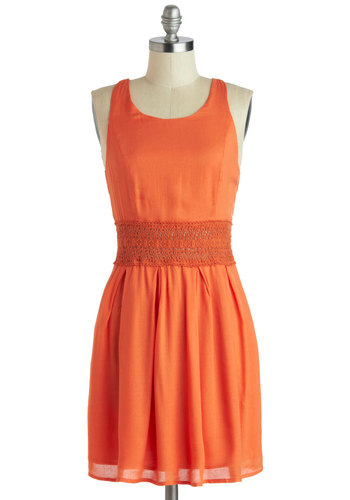 Citrus Celebration Dress - Sheer, Short, Orange, Solid, Crochet, Casual, A-line, Racerback, Scoop, Summer