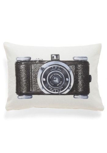 Give It a Snapshot Pillow - Cotton, Tan / Cream, Black, Novelty Print, Dorm Decor