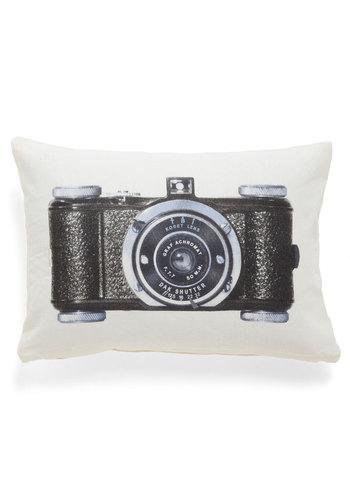 Give It a Snapshot Pillow - Cotton, Tan / Cream, Black, Novelty Print, Dorm Decor