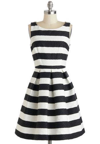 An Elegant Edge Dress - Mid-length, Black, White, Pockets, Party, A-line, Sleeveless, Stripes, Fit & Flare, Boat