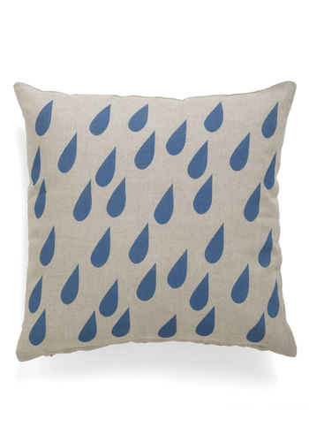 Rain, Rain, Getaway Pillow - Blue, Tan / Cream, Print