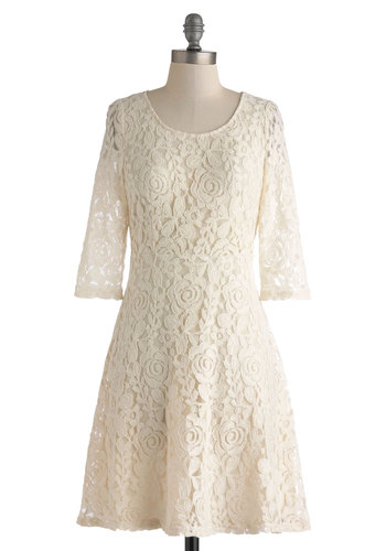 Have It Almond Dress - Mid-length, Cream, Solid, Lace, Party, A-line, 3/4 Sleeve, Scoop, Daytime Party, Graduation, Bride, Vintage Inspired, Sheer