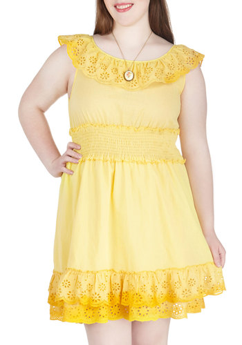 Fresh Lemonade Stand Dress in Plus Size - Cotton, Sheer, Yellow, Solid, Eyelet, Ruffles, Scallops, Tiered, Casual, Daytime Party, Beach/Resort, A-line, Sleeveless, Summer, Scoop, Exclusives