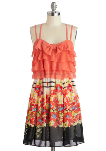 Botanic Gardens Dress - Mid-length, Coral, Multi, Floral, Bows, Ruffles, Party, Sweetheart, Daytime Party, Spaghetti Straps, Summer, Chiffon
