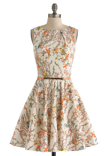 Luck Be a Lady Dress in Bird Song - Mid-length, Cream, Multi, Print with Animals, Belted, Party, Fit & Flare, Sleeveless, Pockets, Daytime Party, Cotton, Variation, Boat, Basic