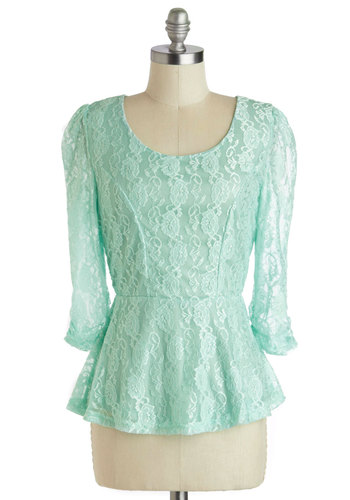 Royal Radiance Top - Mid-length, Mint, Solid, Exposed zipper, Lace, Daytime Party, Vintage Inspired, Pastel, 3/4 Sleeve, Sheer, Scoop