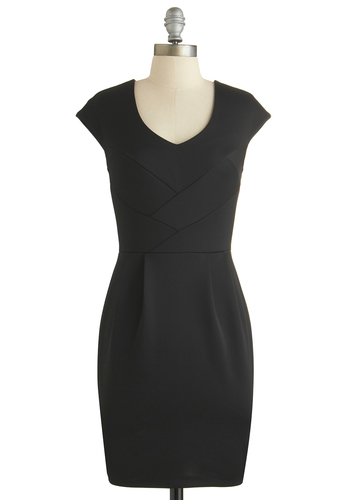 Weaving an Impression Dress - Mid-length, Black, Solid, Work, Sheath / Shift, Cap Sleeves, Exclusives