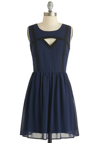 Midnight Serene Dress - Sheer, Short, Blue, Black, Solid, Cutout, Party, A-line, Sleeveless, Exclusives