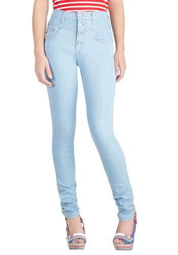 Karaoke Songstress Jeans in Light Wash - Blue, Solid, Buttons, Pockets, Casual, High Waist, Skinny, Denim, Vintage Inspired, Basic, Fall
