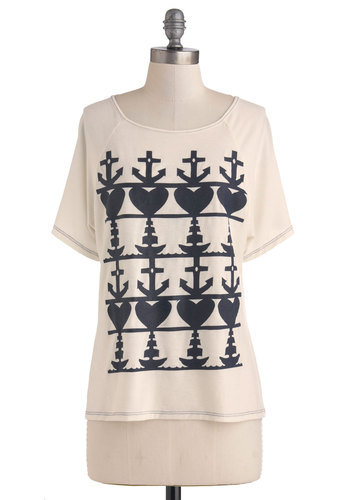 Norway or the Highway Top - White, Black, Casual, Nautical, Short Sleeves, Beach/Resort, Summer, Mid-length, Cotton, Travel