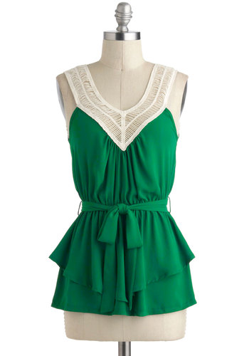 Tangled Up in Green Top - Green, Tan / Cream, Solid, Crochet, Sleeveless, V Neck, Mid-length, Belted, Summer