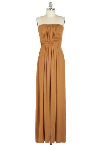 Gorgeous to Go Dress - Solid, Strapless, Long, Yellow, Maxi, Ruching, Casual, Summer, Basic, Fall, Top Rated