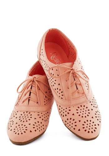Peppy Pastimes Flats - Flat, Pink, Solid, Cutout, Lace Up, Work, Casual, Daytime Party, Menswear Inspired, Pastel, Spring, Faux Leather