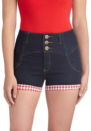 Trimmed with Whimsy Shorts - Cotton, Denim, Blue, Red, White, Checkered / Gingham, Buttons, Casual, Vintage Inspired, Summer, Woven