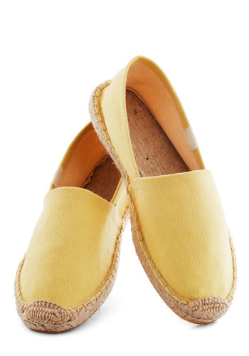Poise of Summer Flat in Sun by Soludos - Yellow, Solid, Flat, Casual, Travel, Eco-Friendly, Summer, Variation