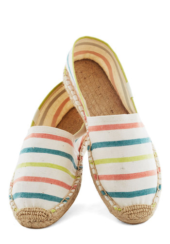 Poise of Summer Flat in Candy Stripes by Soludos - White, Multi, Stripes, Flat, Casual, Travel, Eco-Friendly, Summer, Variation