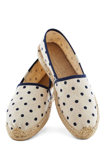 Poise of Summer Flat in Dots by Soludos - Tan, Polka Dots, Trim, Flat, Blue, Casual, Travel, Eco-Friendly, Summer