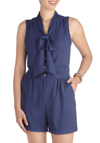 Rise and Pine Romper in River Navy - Long, Blue, Solid, Buttons, Pockets, Tie Neck, Casual, Nautical, Vintage Inspired, Sleeveless, Daytime Party, Summer, Exclusives, Variation