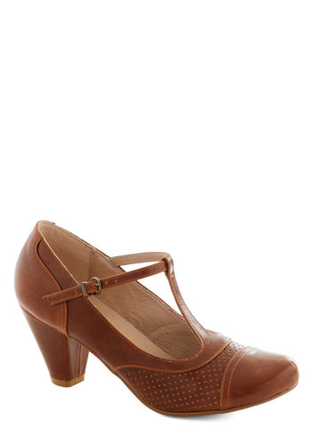 Just Like Honey Heel in Chocolate by Chelsea Crew - Brown, Solid, Vintage Inspired, 20s, 30s, Mid, Party, Work, Faux Leather, Variation, Better, T-Strap, Top Rated