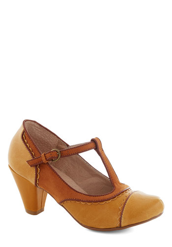 Dance on Air Heel in Mustard by Chelsea Crew - Yellow, Solid, Cutout, Scallops, Vintage Inspired, 20s, 30s, Mid, Faux Leather, Party, Work, Variation, Fall, T-Strap, Folk Art, Better