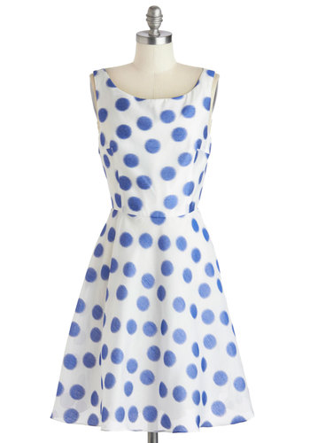 Betsey Johnson Airbrush with Fate Dress by Betsey Johnson - Mid-length, White, Blue, Polka Dots, Party, A-line, Sleeveless, Scoop, Wedding, Summer