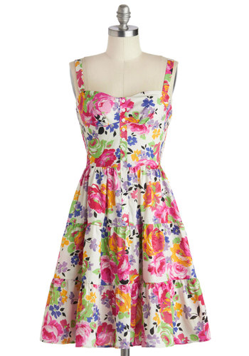 Betsey Johnson Best Dressed Guest Dress by Betsey Johnson - Cotton, Mid-length, Multi, Floral, Buttons, Daytime Party, A-line, Tank top (2 thick straps), Sweetheart, Spring, Summer