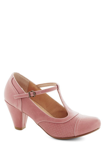 Just Like Honey Heel in Rose by Chelsea Crew - Pink, Solid, Vintage Inspired, 20s, 30s, Mid, Party, Work, Pastel, Faux Leather, Variation, Better, T-Strap, Top Rated