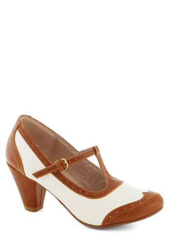 Gallery Opener Heel in Caramel by Chelsea Crew - Solid, Cutout, Vintage Inspired, 20s, 30s, Mid, Faux Leather, Tan / Cream, White, Party, Work, Variation, T-Strap, Better, Top Rated