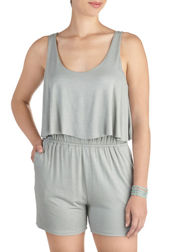 C'est Bonfire Romper in Smoke - Long, Grey, Solid, Pockets, Tiered, Casual, Beach/Resort, Tank top (2 thick straps), Summer, Variation, Scoop