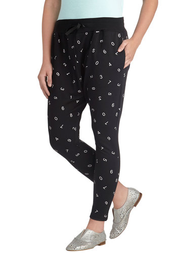 Critical Math Pants - Jersey, Black, White, Novelty Print, Pockets, Casual, Skinny, Quirky, Scholastic/Collegiate, Fall