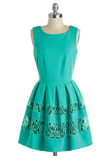 A Dreamboat Come True Dress in Turquoise by Closet - Mid-length, Green, Solid, Crochet, Exposed zipper, Pleats, A-line, Sleeveless, Scoop, Daytime Party, Fit & Flare, Spring, Summer, Variation
