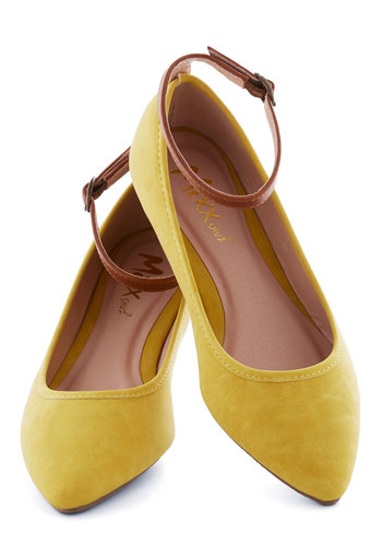 Baker's Dozen Flat in Lemon - Yellow, Colorblocking, Flat, Brown, Solid, Work, Minimal, Variation, Fall, Top Rated