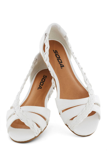 Twist Family Robinson Sandal in White - White, Solid, Braided, Flat, Peep Toe, Casual, Daytime Party, Beach/Resort, Spring, Summer, Faux Leather, Variation