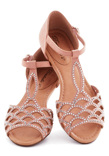Set in Gemstone Sandal - Pink, Cutout, Rhinestones, Bridesmaid, Fairytale, Low, Party, Daytime Party, Pastel, Summer, Faux Leather