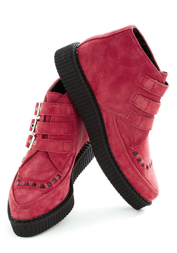Glam Squad Flatform - Pink, Black, Buckles, Low, Platform, Wedge, Leather, Casual, Rockabilly