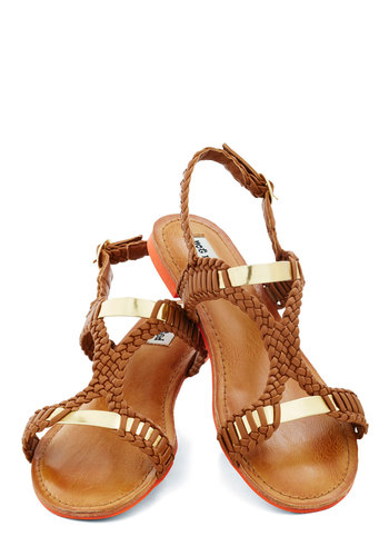 Weave It Up to Me Sandal - Brown, Gold, Solid, Braided, Casual, Beach/Resort, Boho, Summer, Flat, Faux Leather, Good