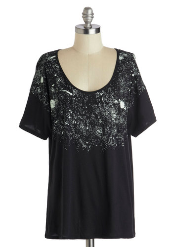 Galaxy's Greatest Glow-in-the-Dark Top - Jersey, Black, Novelty Print, Casual, Short Sleeves, Scoop, Quirky, Mid-length, Black, Short Sleeve, Cosmic