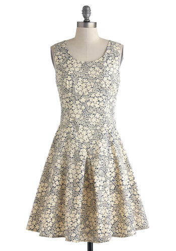 Open Air Afternoon Dress - Cream, Blue, Floral, Party, A-line, Sleeveless, Scoop, Daytime Party, Graduation, Spring, Summer