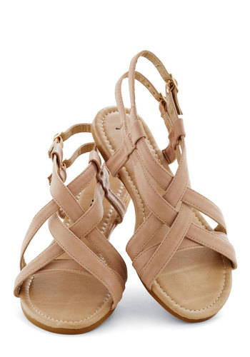 Saunter in the Sand Sandal in Taupe - Tan, Beach/Resort, Summer, Flat, Solid, Casual, Faux Leather, Strappy, Variation